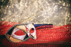 Carnival mask on red blur background Royalty Free Stock Photos