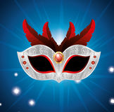 Carnival mask with red feathers lights blue background. Vector illustration eps 10 Stock Images