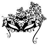 Carnival mask with roses  black vector design Stock Photo