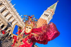 Carnival mask on San Marco square in Venice, Italy Stock Images