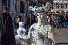 Carnival mask on San Marco square in Venice, Italy Stock Photos