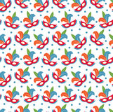 Carnival mask seamless pattern. Masquerade endless background, texture, wallpaper. Vector illustration. Stock Photo