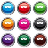 Carnival mask set 9 collection. Carnival mask set icon isolated on white. 9 icon collection vector illustration Stock Image