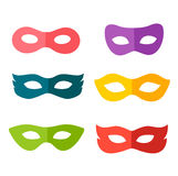 Carnival mask set. Festive masks silhouette in black on a white background Royalty Free Stock Photos