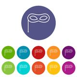 Carnival mask set icons. In different colors isolated on white background Stock Images