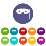 Carnival mask set icons. In different colors isolated on white background Royalty Free Stock Images