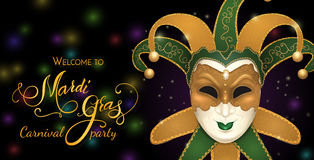 Carnival mask with shiny glitter texture. Bokeh lights and fireworks background. Invitation card template. Vector illustration EPS10 Royalty Free Stock Photography