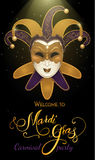 Carnival mask with shiny glitter texture. Bokeh lights and fireworks background. Invitation card template. Vector illustration EPS10 Stock Images
