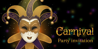 Carnival mask with shiny glitter texture. Bokeh lights and fireworks background. Invitation card template. Vector illustration EPS10 Royalty Free Stock Image