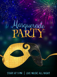 Carnival mask with shiny glitter texture. Bokeh lights and fireworks background. Invitation card template. Vector illustration EPS10 Stock Photography