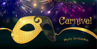 Carnival mask with shiny glitter texture. Bokeh lights and fireworks background. Invitation card template. Vector illustration EPS10 Royalty Free Stock Photos