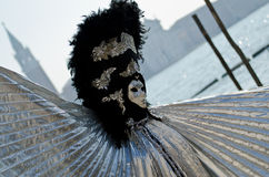 Carnival mask in silver and black Royalty Free Stock Photo
