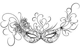 Carnival mask. Sketch carnival mask. Black outline and decorated with beautiful patterns and flowers. Vector illustration Royalty Free Stock Images