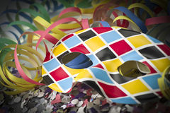 Carnival mask and streamer Royalty Free Stock Photo