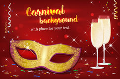 Carnival mask and two glasses of champagne on red background. With shines and confetti - place for your text. Vector illustration Royalty Free Stock Photography