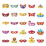 Carnival mask venetian icons set, flat style. Carnival mask venetian icons set. Flat illustration of 25 carnival mask venetian icons for web Royalty Free Stock Photography