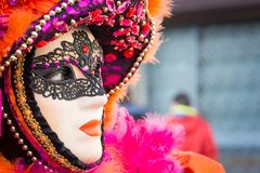 Carnival mask in Venice. The Carnival of Venice is a annual festival held in Venice, Italy. The festival is word famous for its el. Aborate masks stock photography