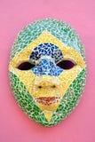Carnival Mask on the wall at Olinda, Pernambuco, Brazil stock image