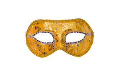 Carnival mask on white. Gold carnival mask isolated on white Stock Photo