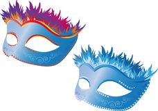 Carnival mask1. Carnival two masks of different colors Stock Image