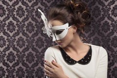 Carnival masked girl in elegant dress Royalty Free Stock Photo