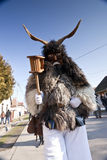 Carnival masker in fur at the 'Busojaras', the carnival of winter's funeral Royalty Free Stock Photography