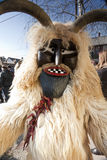 Carnival masker in fur at the 'Busojaras', the carnival of winter's funeral Stock Photos