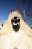 Carnival masker in fur at the 'Busojaras', the carnival of winter's funeral Royalty Free Stock Images