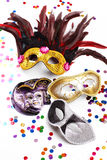 Carnival masks. Carnival mask with confetti on white background