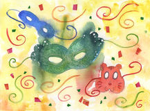 Carnival masks. Three colored carnival masks. Hand made watercolor Stock Photography