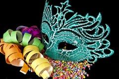 Carnival masks on black  background Royalty Free Stock Images