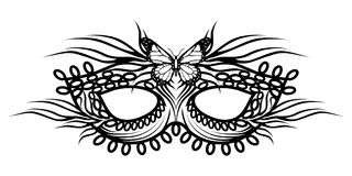 Carnival masks. Carnival concept illustration. Black mask with a butterfly. Vector graphics to design Royalty Free Stock Photos