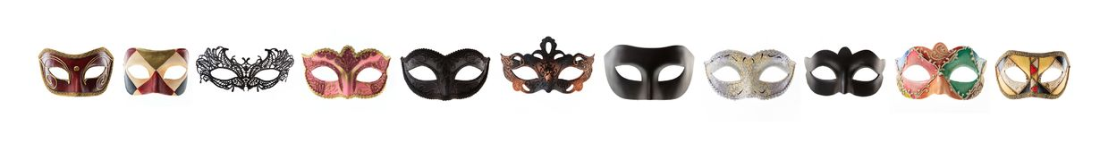 Carnival masks collage isolated on white background. Front view Royalty Free Stock Photo