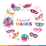Carnival masks collection. Colorful carnival masks collection isolated on white background. Masqeurade mask design for decorating festive invitations, banners Royalty Free Stock Photo