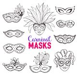 Carnival masks collection. Hand drawn carnival masks collection in line art style. Masqeurade mask sketches for decorating festive invitations, banners, greeting Royalty Free Stock Images