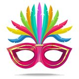 Carnival masks. Carnival concept illustration. Pink mask with a golden pattern and feathers. Vector graphics to design Royalty Free Stock Photos