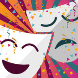 Carnival masks with confetti stars and streamers royalty free illustration