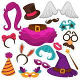 Carnival masks and costume accessory vector flat icons set. Carnival masks and costume accessories. Vector flat icons set of birthday party carnival mask, witch Stock Images