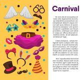 Carnival masks and costume accessory vector poster template. Carnival masks and costume accessories poster template. Vector birthday party carnival mask, witch Stock Photos