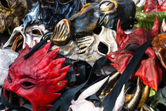 Carnival masks. Exposing of some carnival old masks Royalty Free Stock Photo
