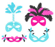 Carnival masks with feathers illustration Stock Image