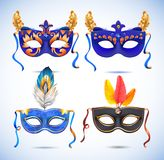 Carnival masks with feathers, Masquerade party Stock Image