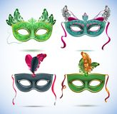 Carnival masks with feathers, Masquerade party Stock Photo