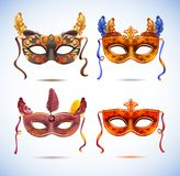 Carnival masks with feathers, Masquerade party Royalty Free Stock Photo