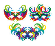 Carnival masks with feathers, Masquerade party mask set. A set of carnival masks. flat vector illustration isolate on a white background Royalty Free Stock Photos