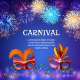 Carnival Masks Firework Background. Fireworks composition background with realistic images of carnival masks colourful firework shapes decorations and editable Stock Image