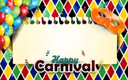 Carnival masks and harlequin decor vertical royalty free illustration