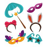 Carnival masks and vector masquerade accessories. Carnival masks and masquerade costume accessories. Birthday celebration party carnival mask, witch hat and wig Royalty Free Stock Image