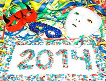 Carnival 2014 masks streamers confetti party Royalty Free Stock Image