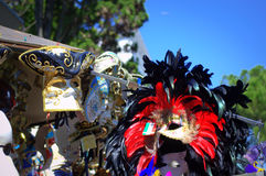 Carnival masks street vendor stand Venice Royalty Free Stock Photos